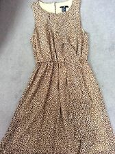 H&M BROWN ANIMAL PRINT SHEER SLEEVELESS LINED DRESS WITH GATHERED SKIRT - 8 NEW