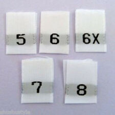 5-6-6X-7-8 Mixed Woven Size Labels-Qty 100- Assorted child adult sew tabs tags
