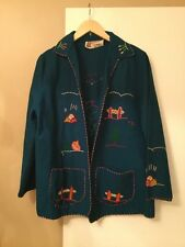 Vintage Blue Mexican Embroidered Jacket