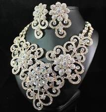 AB89160 CLEAR AUSTRIAN RHINESTONE CRYSTAL BIB NECKLACE EARRINGS SET BRIDAL GOLD
