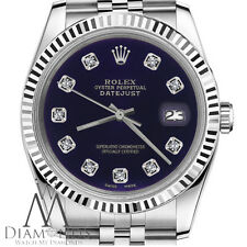 Purple Dial Womens Rolex 26mm Datejust w Diamond Numbers Stainless Steel Jubilee