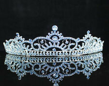 VICTORIAN BLUE CROWN RHINESTONE TIARA COMB BRIDAL PARTY WEDDING PROM H263BLUE