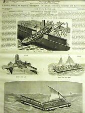 Roper White LIFEBOAT RAFT LIFE SAVING LONDON 1882 Print Matted w Full Text Story