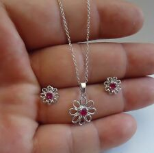 925 STERLING SILVER CLEAR FLOWER LADIES NECKLACE & EARRING SET W/ .50 CT RUBY