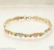 "7"" Hearts & Kisses Bracelet 14K Yellow White Rose TriColor Gold Clad Silver 925"