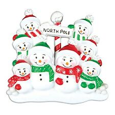 North Pole Family of 8 Personalized Christmas Tree Ornament X-mass Noel Winter