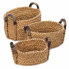 Thick-Woven Oval Nesting Basket Set