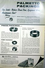 1966 Catalog Ad PALMETTO PACKINGS Greene Tweed Company ASBESTOS Packing Valves