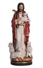 Statua Gesù buon pastore cm. 30 - In legno scolpita a mano