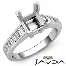 Baguette Diamond Engagement Ring 14k White Gold Princess Cut Semi Mount 0.85Ct