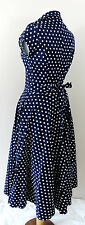 New Dress V Navy Blue White Polka Dot Cap Sleeve 50's Midi Tea A Line Medium 10