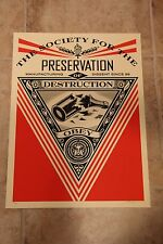 Shepard Fairey Obey Screen Print Society of Destruction Poster 18 x 24 Signed