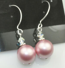 Powder Rose W Swarovski Elements Crystal Pearl Earrings Sterling Silver Filled