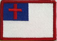 Christian  Flag Embroidery Iron-On Patch  Biker Emblem Red  Border