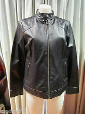 womens biker style black leather zip up jacket SZ 14 fully lined!
