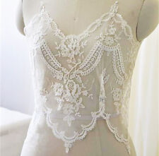 "15"" Bridal Embroidered Lace Edging Ribbon Ivory Corded Wedding Trimming 1 Piece"