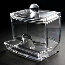 Acrylic Storage Cube Box Holder Cotton Wool Toiletries Hotel Guest House Bedroom