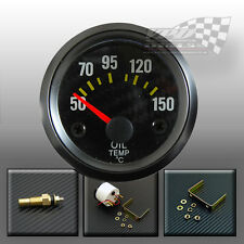 OIL TEMPERATURE TEMP GAUGE CARBON FACE BLACK RIM  52mm 2""