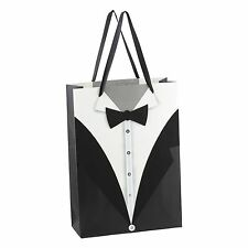 New Set of 12 Black White Wedding Tuxedo Paper Gift Bag by Dzhavael Couture