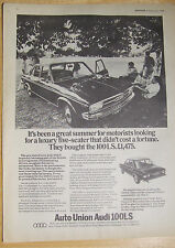 AUDI AUTO UNION 100 LS SALOON 1969 ADVERT READY TO FRAME A4 SIZE