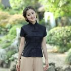 Hot Sale black beige Chinese Tradition Women's lace Shirt Blouse Tops s-2XL