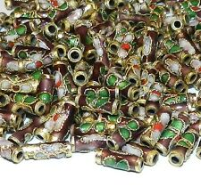 CL135L Purple 9mm Round Tube Enamel Overlay on Metal Cloisonne Beads 25/pkg