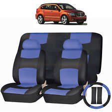 PU LEATHER BLUE & BLACK SEAT COVERS 11PC SET for DODGE AVENGER JOURNEY