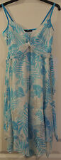 Jane Norman Multi Blue Foil Palm Print Dress Handkerchief Hem 14 BNWT RRP £40