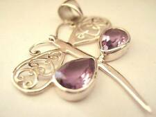 Sterling Silver Amethyst Firefly Dragonfly Bug Pendant Reiki Brow Crown Chakra