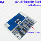 Li-ion Lithium 18650 Battery BMS PCB Protection Board 4 Packs 14.8V 8A w/Balance