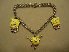 Sponge Bob Square Pants Cartoon Character Colorful Enamel 3-Charm Charm Bracelet