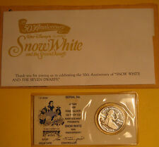 1987 Disney Snow White 50th Anniversary 1/2 troy oz. Silver w/COA ~ Letter etc.