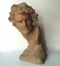 Large Terracotta Bust of Young Man in Dramatic Pose, Ugo Cipriani 1920s Listed