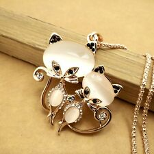 Gold-plated Mosaic crystal cats chain Fashion charm Pendants necklace GG492