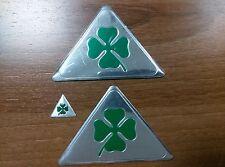 3 pezzi del QUADRIFOGLIO (Quatrefoil, quatrifoglio) emblemi Alfa Romeo 9cm