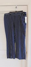 Lauren Ralph Lauren Striped Wide-Leg Pants Plus Size Womens 14W Navy White NEW