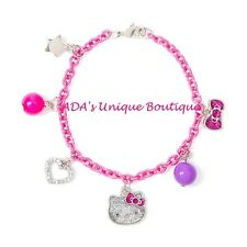 Hello Kitty Glitter Charm Bracelet Sanrio Pink Bow Heart Sparkle Star Bling NWT