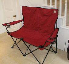 DOUBLE FOLDING CAMPING CHAIR - BIG - STRONG - RED - FREE DELIVERY