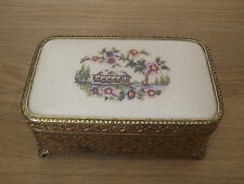 VINTAGE PETIT POINT MUSICAL JEWELLERY BOX - LOVELY DESIGN