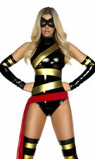 Haute Hero Comic Costume by Forplay Vinyl  Bodysuit Black w/ Gold Size XS, S