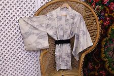 Vintage scenery tree silk slouch 70s Japanese kimono short Jacket or dress S M