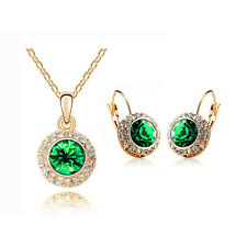 Luxury Green & Gold Jewellery Set Circle Earrings & Necklace with Pendant S306