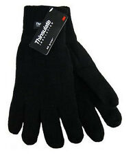 Mens Knitted Acrylic Black Gloves Soft Feel Thinsulate Lining Size L/XL BNWT