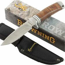 Browning Stacked Leather Handles Fixed Blade Hunting Knife BR814 Sheath Hunter