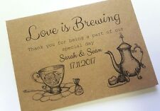 10 x Personalised Wedding envelopes Love is Brewing, for tea bag favours