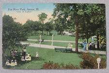 "1914 POSTCARD FOX RIVER PARK AURORA ILLINOIS ""CITY OF LIGHTS"" TO ARGOS INDIANA"