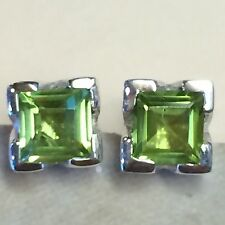 Genuine  Princess Cut  2ct Peridot 925 Solid Sterling Silver Stud Earrings 7mm