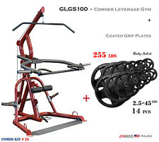 2017 NEW Body Solid GLGS100 Plate Loaded Leverage Corner Gym + 255 lbs. plates