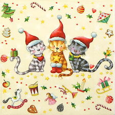 4x Single Table Party Paper Napkins for Decoupage Decopatch Christmas for Cats