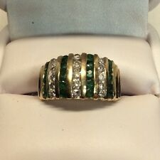 Ladies Wide Band With Rows Emeralds And Rows Diamonds Yellow Gold Ring (j348)